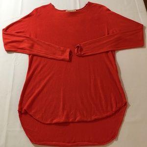 Michael Kors Coral Red Hi-Low Knit Top